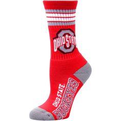 Ohio State Buckeyes For Bare Feet Youth 4-Stripe Deuce Quarter-Length Socks - $8.79