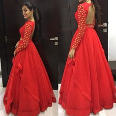 Put on your Red dress and dance the night away . Stunning red color layered floor lenght dress with fill sleeves. Indian Designer Outfits, Indian Outfits, Designer Dresses, Indian Clothes, Indian Wedding Gowns, Indian Gowns Dresses, Indian Weddings, Lehenga Designs, Special Dresses