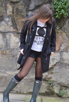 hunter boots  , Hunter in Boots, Ebay in T Shirts, Pull & Bear in Pants, Zara in Socks / Tights