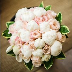 Create a romantic, lush bouquet with peonies and roses | I would keep these all over my house year round if I could!