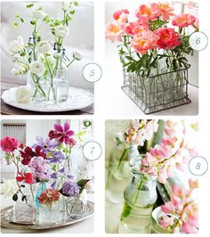 ChicDecó: Arreglos florales con botellas recicladas Styling with recycled bottles and flowers
