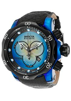 Men's Venom Reserve Chrono Black Distressed Genuine Leather Blue Case