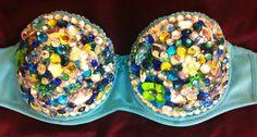 Mermaid color sequined bra