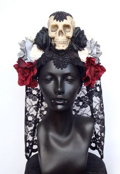 MADE TO ORDER Day of the Dead Skull & Flower by MissGDesignsShop, $300.00