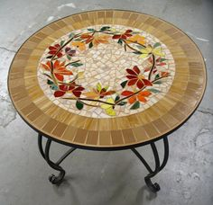 MOSAIC TABLE floral motif CUSTOM stained glass inlaid iron furniture hand-made colorful table top by ParadiseMosaics Mosaic Furniture, Iron Furniture, Furniture Ideas, Mosaic Crafts, Mosaic Projects, Mosaic Glass, Mosaic Tiles, Free Mosaic Patterns, Mosaic Stepping Stones