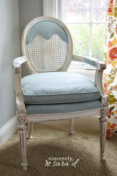 DIY tutorial for painting an upholstered chair with chalk paint.