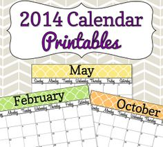2014 Calendar Printable  Colorful Quatrefoil  With by SimplyBrenna, $5.00