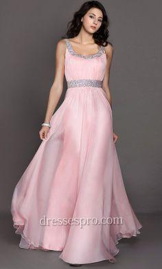 Pink Grecian Scoop Neck Flowing Prom Dress