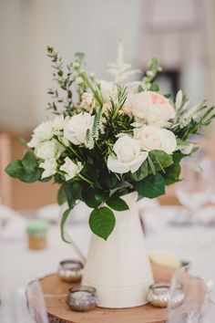 Wedding Decorative Bottles : Jug Flowers Rose Peony Foliage Pretty White Pink Country Chic Sage Green Marquee Wedding www. Spring Wedding Centerpieces, Wedding Table Flowers, Wedding Table Decorations, Decoration Table, Flower Centerpieces, Table Centerpieces, Wedding Marquee Decoration, Wedding Bouquets, Flower Bouquets