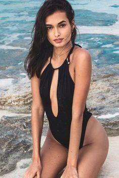 947e8a9b25 Sexy pure black backless halter bikini chest holes One Piece Bikini