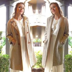 Two super pretty #vintage #coat s I found this weekend  in love with the one on the right. Brown and cream houndstooth with a pink lining  #vintageclothing