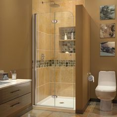 DreamLine Aqua Fold 33.5 in. x 72 in. Semi-Framed Hinged Shower Door in Chrome