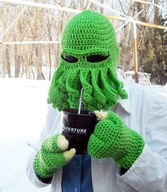 Now this is how to keep warm. | Cthulhu Ski Hat | Etsy.com