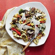 If meatless Monday is part of your weekly menu, try Summer Veggie Salad. Pine nuts and Manchego cheese add protein to the salad. You can swap in less-expensive walnuts and Parmesan, if desired.