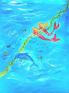 Childrens Painting Mermaid Little Girls by LeslieAllenFineArt, $50.00