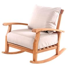 Want this for deck...Artfully crafted of teak wood, this charming rocking chair's overstuffed cushions invite you to relax with a book club read in your study or enjoy a crisp le...