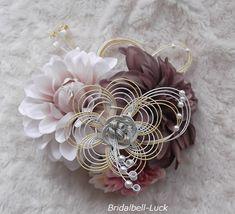 和装髪飾り モーブダリア・花の結び