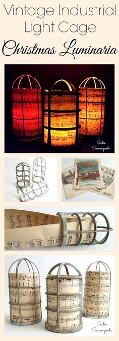 Pairing a vintage industrial light cage with antique sheet music creates gorgeous, unusual Christmas Luminaria! This is a super easy DIY repurpose / upcycle holiday craft project that anyone can do, even if you're not crafty at all. They look amazing clustered together and will be a sure hit (and conversation starter) at your festive Christmas party! #SadieSeasongoods / www.sadieseasongoods.com