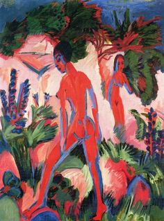 Red Nudes, 1913-1925, by Ernst Ludwig Kirchner.  Oil on canvas.