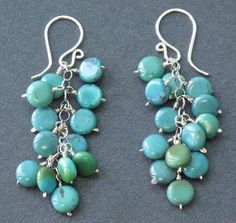 Modglam 21 Turquoise cluster earrings on by CalicoJunoJewelry, $80.00