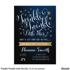 Shop Twinkle Twinkle Little Star Baby Shower Invitation created by loralangdesign. Personalize it with photos & text or purchase as is! Custom Baby Shower Invitations, Baby Shower Invitation Cards, Gender Reveal Invitations, Birthday Invitations, Invites, Invitation Ideas, Wedding Invitations, Wedding Menu, Twinkle Twinkle Little Star