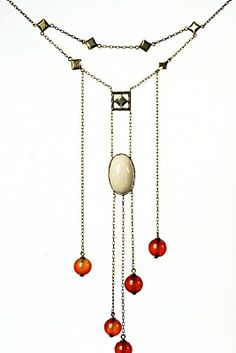 :: Necklace by Koloman Moser (Austrian 1868 - 1918), co-founder of Weiner Werkstatte : Viennese Secession ::