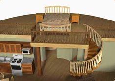 48 Ideas Bedroom Interior Ceiling Loft For 2019 Yurt Loft, Loft Stairs, Treehouse, Yurt Interior, Kitchen Interior, Interior Design, Tiny House Plans, House Floor Plans, Yurt Living