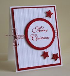 Stampin' Up! ... handmade Christmas Card ... deep red and bright white ... wide matted circle with sentiment ... wide stripe embossing folder texture on the backroung ... three stars punched and popped up ... bakers twine ... great card with clean graphic look ...
