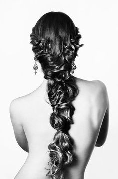 This is a beautiful long hairstyle for any special event! Hair; long, brown, braid, updo, wedding, bride, bridal