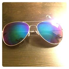 Mirrored aviator sunglasses Purple, blue and green mirrored aviators. Worn once for a bachelorette party. No brand, like new condition. Accessories Sunglasses