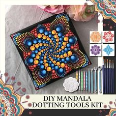 DIY Mandala Dotting Tools Rock Painting Kit - Dot Painting Kits For Adults And Kids - Polymer Clay Tools And Accessories - Pattern Dotting Tools Set For Embossing Art, Coloring, Nail Art Painting Dot Painting Tools, Dot Art Painting, Mandala Painting, Rock Painting, Stone Painting, Mandala Dots, Mandala Pattern, Mandala Stencils, Dotting Tool