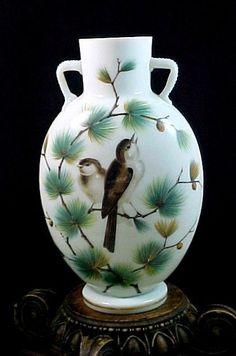 Antique Victorian Bohemian Harrach Evergreen Pine & Bird Enamel Art Glass Vase  #AestheticMovement #RiedelorHarrach