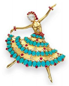 """A GOLD, TURQUOISE, DIAMOND AND RUBY """"BALLERINA"""" BROOCH, BY VAN CLEEF & ARPELS, 1956"""