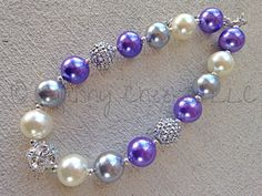 """This Purple and Silver Sparkle Bubblegum Necklace is made from large, high quality, beautiful beads strung and fastened securely with sturdy hardware. They are about 18"""" in length. Chunky Bead Necklac"""