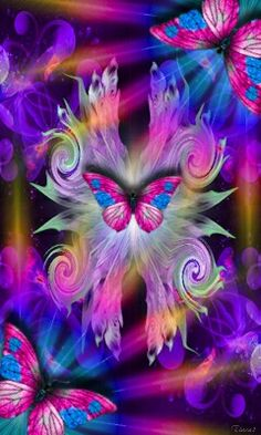 By Artist Unknown. Butterfly Wallpaper, Butterfly Flowers, Butterfly Design, Beautiful Butterflies, Neon Flowers, Cellphone Wallpaper, Iphone Wallpaper, Butterfly Pictures, Hippie Art