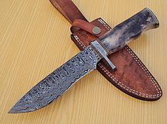 DAMASCUS CUSTOM HAND MADE BEAUTIFUL HUNTING KNIFE WITH COLORED BONE HANDLE. #BestSteelWarrior