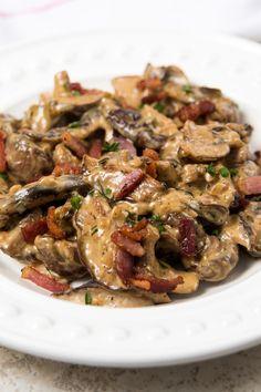 Creamy Mushrooms with Bacon, Marsala & Parmesan