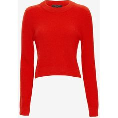 rag & bone Valentina Cropped Cashmere Sweater ($395) ❤ liked on Polyvore featuring tops, sweaters, red, red long sleeve top, red cropped sweater, long sleeve sweaters, long sleeve crop sweater and cashmere sweaters
