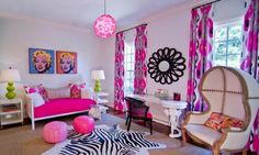 Full pink room with a bit of green in