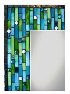 etsy.com mosaic mirror frame, blues and greens...love it!