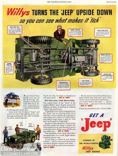 Willys turns the Jeep upside down so you can see what makes it tick.