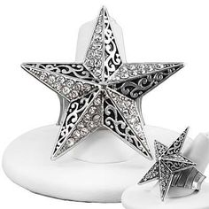 Star Stretch Ring Clear Crystals Filigree Black Burnish Silver