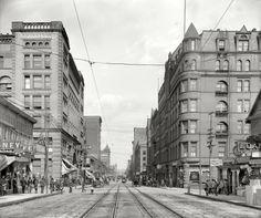 "Duluth, Minnesota, circa 1909. ""Superior Street."" The newsboy's headline: JAP RIOT CRISIS."