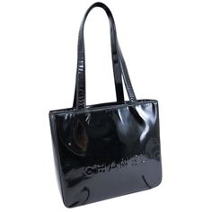 Pre-owned Chanel Patent Leather Mini Tote Hand Shoulder Bag ($288) ❤ liked on Polyvore featuring bags, handbags, shoulder bags, black, patent leather handbags, patent leather purse, chanel shoulder bag, chanel and black purse