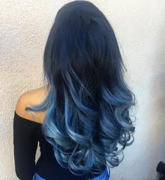 Long Black To Pastel Blue Ombre Hair