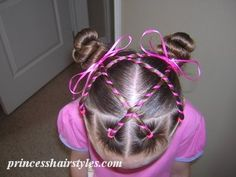 This site has a lot of hairstyles with videos and step by step pics for most. cute candy stripes hairstyle for girls
