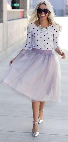Lavender tulle skirt.