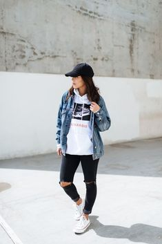 women's graphic hoodie with denim jacket and black jeans, women's fashion, spring style, how to wear, street style, sporty chic, casual outfit, everyday wear, modern