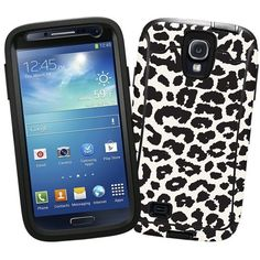 """Black and White Leopard """"Protective Decal Skin"""" for OtterBox Defender Samsung Galaxy S4 Case, http://www.amazon.com/dp/B00K5U8EY4/ref=cm_sw_r_pi_awdm_IJMzub0ZJAJHW"""