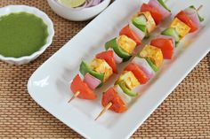 Paneer Tikka - Marinated paneer and vegetables baked in an oven.
